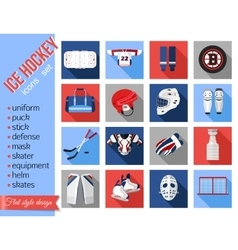 Set of flat ice hockey icons vector