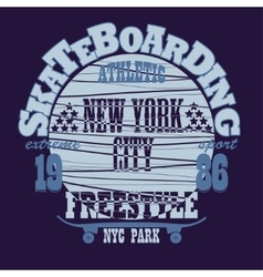 Skateboarding new york t-shirt graphic design vector