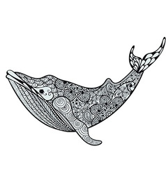 Zentangle stylized blue sea whale hand drawn vector