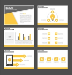 Black yellow presentation templates infographic vector