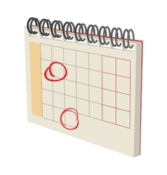 Calendar with marks cartoon icon vector