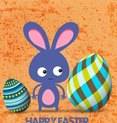 Easter greeting card with bunny and eggs retro vector