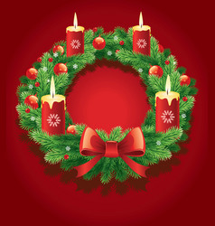 advent wreath with 4 burning candles vector image