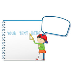 Blank notebook and little boy vector
