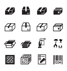 Box shipping logistics icons set vector