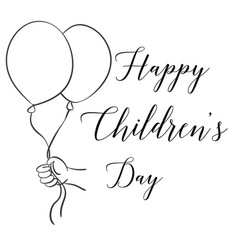Childrens day with balloon hand draw vector