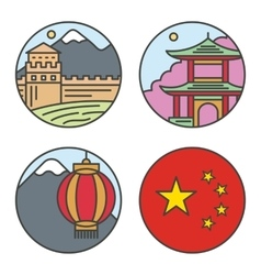 Country china travel vacation places in thin lines vector