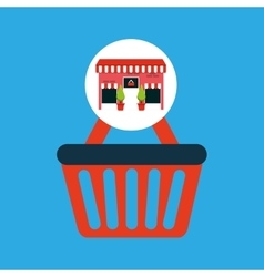 Cute store shopping basket buy vector