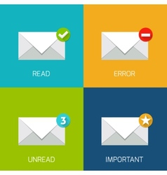 Flat mail icon vector image