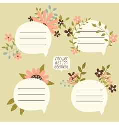 Floral speech bubbles vector