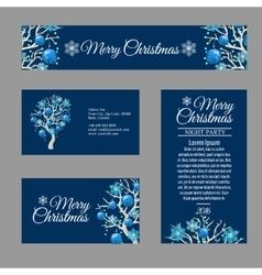 Four greeting card with stylish christmas tree vector