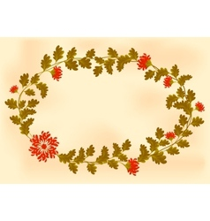 Frame with red flowers in the shape of an wreath vector image