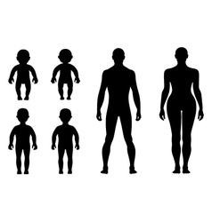 Full length front back human silhouette set vector image vector image