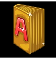 Golden book with red letter a on cover vector
