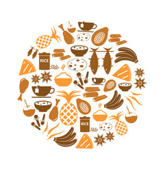 Indian food theme set of simple icons in circle vector