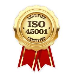 Iso 45001 standard certified rosette vector