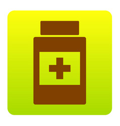 Medical container sign brown icon at vector