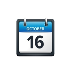 October 16 calendar icon flat vector