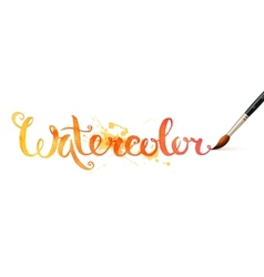Orange watercolor sign Watercolor with brush vector image