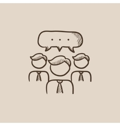 People with speech square above their heads sketch vector image