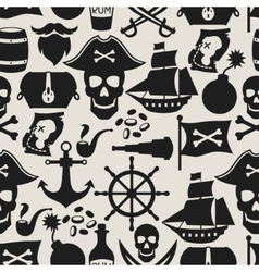 Seamless pattern on pirate theme with objects and vector