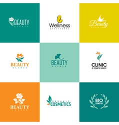 Set of beauty and flowers logo templates vector image vector image