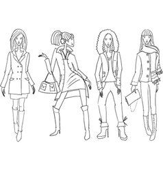set with sketches of fasion girls vector image vector image