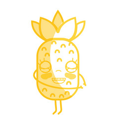 Silhouette kawaii cute happy pineapple fruit vector