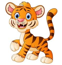 smiling tiger cartoon vector image vector image