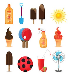 summer holiday icons vector image vector image