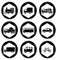 Transport monochromatic icons vector