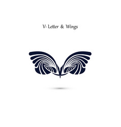 v letter sign and angel wings monogram wing logo vector image