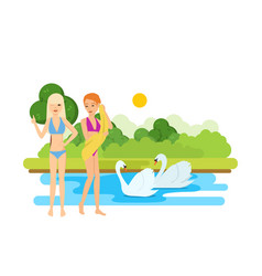 Young tanned girls rest and bathe on the lake vector