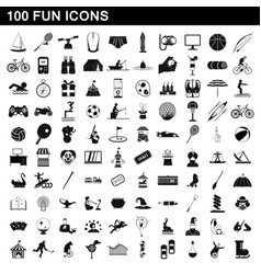 100 fun icons set simple style vector
