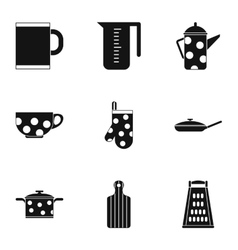 Dining items icons set simple style vector