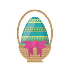 easter basket egg bow decoration vector image