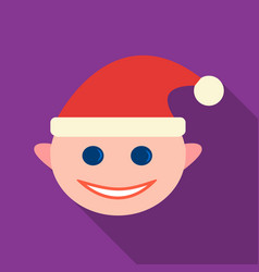 Christmas elf icon in flat style isolated on white vector