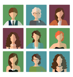 Female avatars set in office style vector