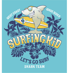 shark surfing kid team vector image