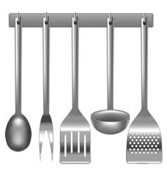 Realistic metal kitchen utensils set vector