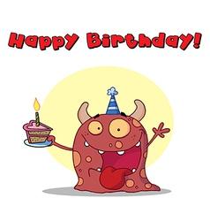 Birthday monster cartoon vector image