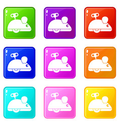 Clockwork mouse icons 9 set vector
