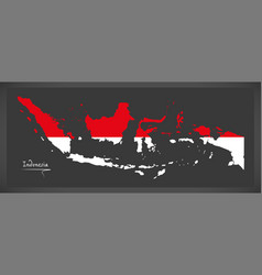 Indonesia map with indonesian national flag vector