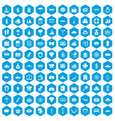 100 wealth icons set blue vector