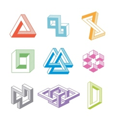Colorful impossible geometric shapes vector image