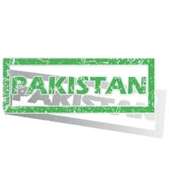 Green outlined pakistan stamp vector