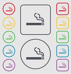 Cigarette smoke icon sign symbol on the round and vector