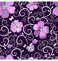 dark violet floral pattern vector image