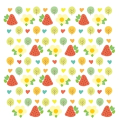 Sweet summer pattern with green trees red vector