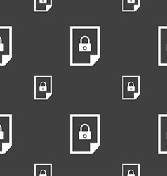 file locked icon sign Seamless pattern on a gray vector image